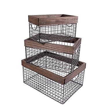 SLPR Wooden Top Wire Storage Baskets (Set of 3, Dark Wood) | Organizer with Built-in Handles for Kitchen Laundry Nursery Cabinets Wardrobe
