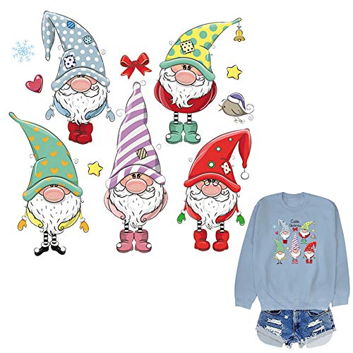 Xmas Heat Transfer Sticker for Christmas Clothing Decorations Cute Gnones Snowflake Stars Iron on Patches for Sweatshirt Hoodies Coats Jeans Jackets Art Decor