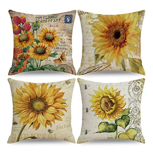 QIQIANY Set of 4 Yellow Sunflower Throw Pillow Covers 18x18 Inch Square Linen Home Decor Sunflower Cushion Covers Pillowcases with Hidden Zipper for Kitchen Sofa Chair Bedroom