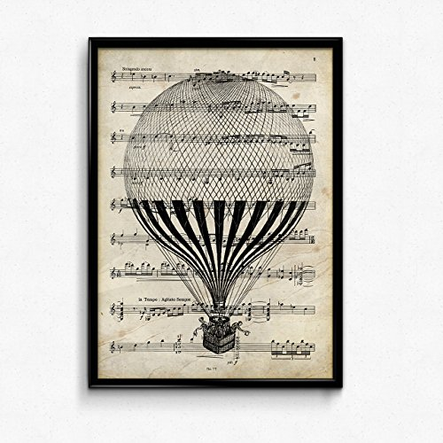 "Lámina poster ""Globo"" vintage de partituras. Ilustracion sobre antiguas partituras. Perfecta para amantes de la música. Tamaño A4"