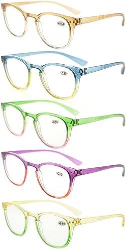 Eyekepper Lot de 5 Lunettes de vue pour femme Lunettes de lecture fashion (un pour chaque couleur +2.75)