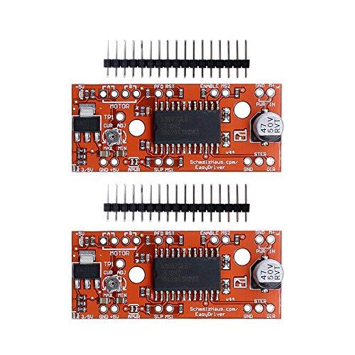 Diymore 2pcs V44 A3967 EasyDriver Shield 7V-30V Stepper Motor Driver for Arduino EK1204 Support 4/6/8 Wires Stepper
