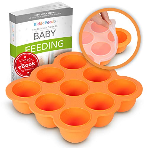 KIDDO FEEDO Baby Food Ice Cube Tray and Storage Container with Silicone Clip-On Lid - Free E-Book by Award-Winning Author/Dietitian - Orange