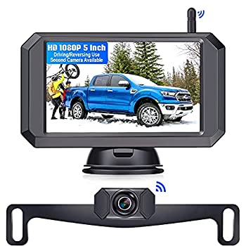 LeeKooLuu F09 Wireless Backup Camera HD 1080P 5   Monitor Stable Digital Signals for Trucks Campers Cars Minivans Rear View Camera System Support Add on Second Wireless RV Camera/License Plate Camera