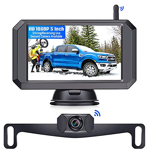 LeeKooLuu F09 HD 1080P Wireless Backup Camera 5'' Monitor Stable Digital Signals for Trucks,Campers,Cars,SUVs,Minivans Two Video Channels Rear View Camera System Super Night Vision IP69 Waterproof