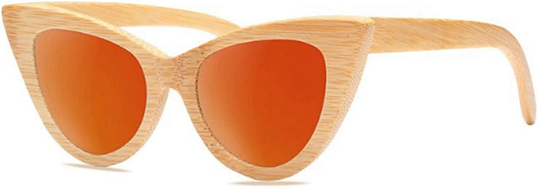 Fashion Exquisite Women's Wooden Sunglasses Handmade Cat Eyes Lady's Polarized Sunglasses Bamboo UV Predection Driving Sunglasses Beach Sunglasses. Retro (color   orange)