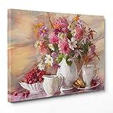 QUADRO SU TELA CANVAS - INTELAIATO - PRONTO DA APPENDERE - Natura Morta - Vaso con fiori Rosa e Bianchi - 50x70cm - Senza Cornice - (cod.1704)