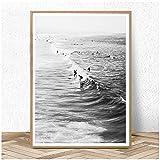ZYHFBHFBH Surf Poster Wall Art Blanco y Negro Ocean Print Beach Modern Canvas Painting Surfing Coastal Decor for Living-60x80cm Sin Marco