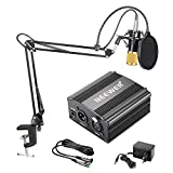 Neewer NW-800 Kit de Microphone à Condensateur - Micro Doré, 48V Alimentation Fantôme Noir, NW-35 Boom Support de Bras à Ciseaux avec Montage Choc et Filtre Pop, XLR Câble Mâle à Femelle