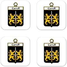 Carroll Or Ocarroll Family Crest Square Coasters Coat of Arms Coasters - Set of 4