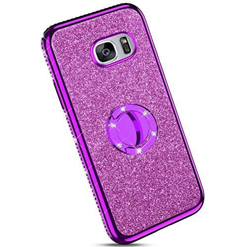 Ysimee kompatibel mit Samsung Galaxy S7 Hülle, Bling Schutzhülle Glänzend Weiche TPU Silikon HandyHülle Bumper Case mit Ring 360 Grad Ständer, Diamant Glitzer Case, Lila