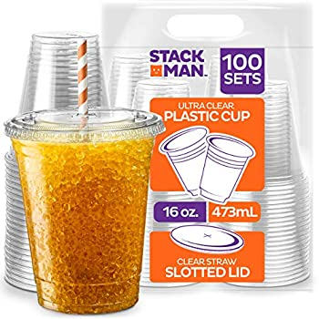 [100 Sets - 16 oz.] Clear Plastic Cups with Straw Slot Lid PET Crystal Clear Disposable 16oz Plastic Cups with lids