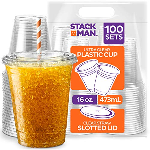 Clear Plastic Cups with Straw Slot Lid