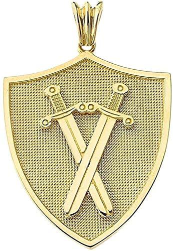 NC66 Elegante Colgante con Protector de Escudo y Espadas de Oro Amarillo de 10k