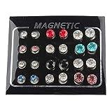 POFET Juego de 12 pares de pendientes de clip magnético con brillantes y diamantes de imitación, unisex
