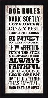 Buyartforless Work Dog Rules Bark Softly Love Often Humorous Sign by Jim Baldwin 8x18 Art Print Poster 1.25