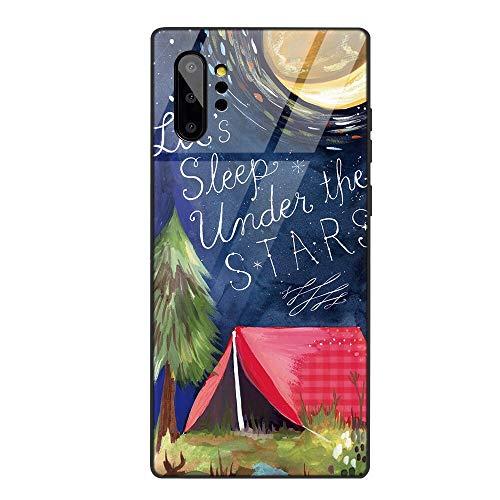 Yoedge Capa para Samsung Galaxy Note 10 Plus/Galaxy Note 10 Pro, capa traseira rígida de vidro temperado com design, capa bumper ultrafina de silicone TPU macio à prova de choque para meninas e mulheres (casa estrela)
