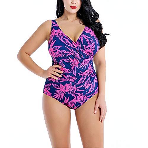 NOBRAND Damen Mode Sexy Hohe Elastisch Tight Rückenfrei V-Ausschnitt Badeanzug Übergröße Einteiler Triangle Floral Badeanzug Gr. 54, violett