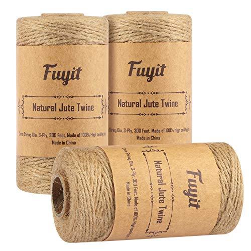 Corda di spago di iuta Fuyit Totale 3 rotoli, 2mm per unità Corda di iuta spessa naturale per floristica, bricolage, decorazione, confezionamento, giardino e riciclaggio