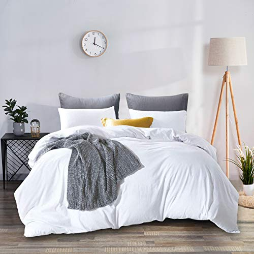 RUIKASI Superking Duvet Cover Non-Iron Zip Fastening with Smooth Velvet Feeling Fluffy and Warm for Winter Sleeping 3PCS Bedding Set Super King Size - White