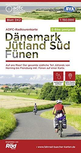 ADFC-Radtourenkarte DK2 Dänemark/Jütland Süd/ Fünen, 1:150.000, reiß- und wetterfest, GPS-Tracks Download, E-Bike geeignet: Auf ans Meer! Der gesamte ... einer Karte. (ADFC-Radtourenkarte 1:150000)