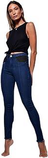Calça moscova jeans skinny recortes no bolso de couro fake blue