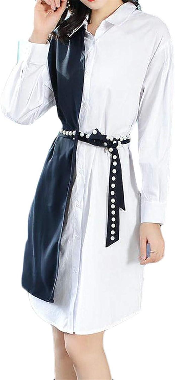 Blyent Women Belt Lapel Neck Contrast color Fake Two Long Sleeve Simple Dress