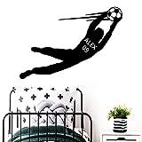 LSMYE Neues Design Fußball Benutzerdefinierter Name Fußball Wandaufkleber für Jungen Zimmer Tapete Kunst Aufkleber für Kinder Schlafzimmer Kaffee XL 57 cm x 81 cm