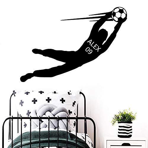 LSMYE Neues Design Fußball Benutzerdefinierter Name Fußball Wandaufkleber für Jungen Zimmer Tapete Kunst Aufkleber für Kinder Schlafzimmer Rot L 43cm x 61cm