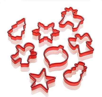 Lurch 10520 - Moldes para Galletas (8 Unidades), diseño de Navidad, Color Rojo