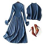 TOMOO レディース ウールのワンピース 2点セット 長袖 無地 セーター ブラウス 上着 カバー ニットのスカート タートルネック カジュアル 上品 ブルー 黒 (ブルー, S)