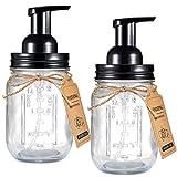 Mason Jar Foaming Soap Dispenser - Rustproof Stainless Steel Lid / BPA Free Pump,With Labels - Rustic Farmhouse Decor Hand Soap Dispenser for Bathroom Vanities,Kitchen Sink,Countertops,Black,2-Pack