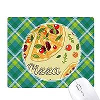 ピザのトマトの葉イタリア食品 緑の格子のピクセルゴムのマウスパッド