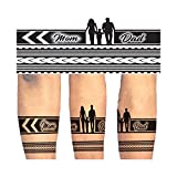 Voorkoms Mom Dad Hand Band & Tribal Temporary tattoo Design Round Shape Waterproof for Boy & Girls...