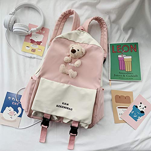 Mochila de nailon impermeable para mujer, bonita mochila de colegio Kawaii, mochila bordada para mujer, bolsa escolar (color: rosa, tamaño: 15 pulgadas)