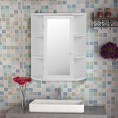 Tangkula Bathroom Cabinet Single Door Wall Mount with Mirror Organizer Storage Cabinet