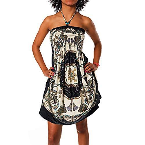 Diva-Jeans Damen Sommer Aztec Bandeau Bunt Tuch Kleid Tuchkleid Strandkleid Neckholder H112, Größen:Einheitsgröße, Farben:N-6217 schwarz