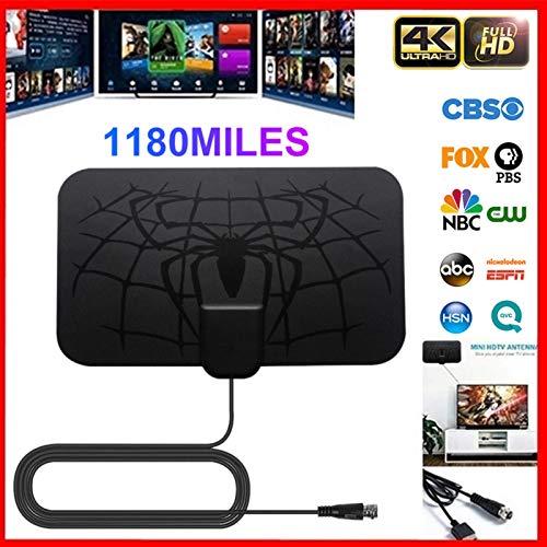 Erfula Antena TV Interior, Antena TV HDTV Digital con Amplificador De Señal Inteligente, Alcance De 980 Miles, Soporte Canales De 1080P 4K Gratis Y Todos Los Tipos De TV Portable