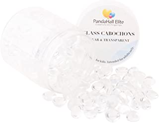 PH PandaHall180 pcs 9mm 10mm Flat Back Clear Dome Tile Glass Cabochons for Earring Bracelet Necklace Photo Craft Jewelry Making Transparent