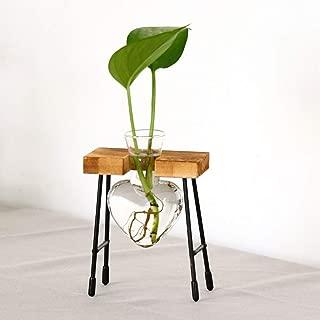 Dergo ☀Decoration Heart Shape Glass Hydroponic Vase Flower Plant Pot Wooden Tray Desk (A)