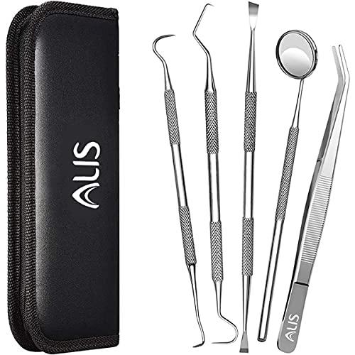 Alis 5 Pcs Dental PMT Set, Dental Tools includes 3 Dental Probes + Dental Tweezer + Mouth Mirror for Oral Care Stainless, Steel Dental Hygiene Kit Set
