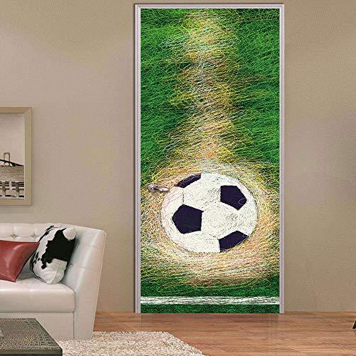 Murales Para Puertas Portería De Fútbol Autoadhesiva Niño Creativo Impermeable Papel Pintado Puerta Mural Pegatinas 95 X 215 cm