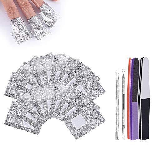 2 pcs Nagelhautschieber Edelstahl, und 100pcs Nail Polish Remover Wraps Pads und 2 Nagelfeile Streifen, Hilfsmittel zum einfachen entfernen von Nagellack
