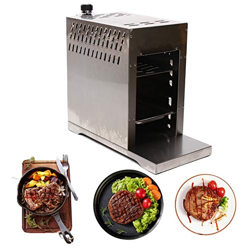 Propane Steak Infrared Grill, 1500℉ of Intense Heat, Compact Outdoor Picnic Grill Machine, Large Heating Place, Stainless Steel, Barbecue Broiler Beef Make Machine for Tailgating, Commercial Home Kitchen, CE Certificated Grills Propane