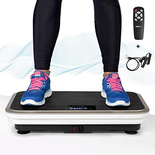 SportPlus Professionele trilplaat incl. afstandsbediening en trainingsbanden, sterke en stille motor van 200 watt, 99 snelheden, 5 trainingsprogramma's, 120 kg gebruikersgewicht, getest op veiligheid