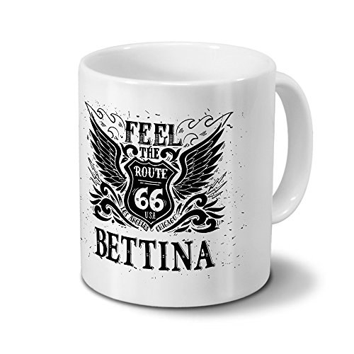Tasse mit Namen Bettina - Motiv Route 66 - Namenstasse, Kaffeebecher, Mug, Becher, Kaffeetasse - Farbe Weiß