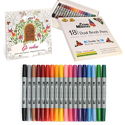 Cedar Markers Dual Brush Pens. 18 Artist Markers Set with Free Coloring Book (88 Drawings). Fine liner and Brush Double Tip. Non-Toxic Water Based Watercolor Sketch Lettering Painting Assorted Colors.