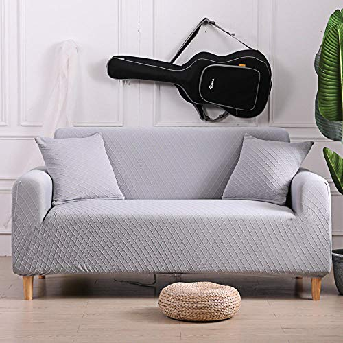 Furniture Covers with Elastic Bottom 2 seater and 3 seater,Protector Solid Printed Sofa Covers For Living Room, Couch Cover Corner Sofa Slipcover L Shape light grey 145-185cm and 190-230cm(2pcs)