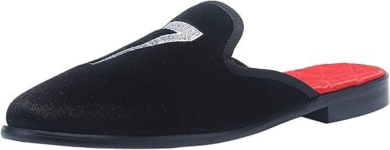 ELANROMAN Men's Dazling Mule Velvet Slippers Slip-on Loafers Home Shoes