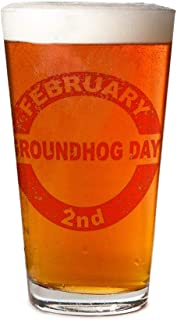 Personalized beer glass - Groundhog Day Stamp Pint Glass, 16 oz. Drinking Glass| For decorative party supplies | Gift ideas for dad, mom, husband, wife | Best Bar Craft Beer Mug